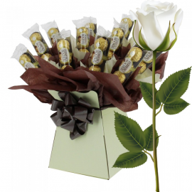 Ferrero Rocher Bouquet Brown With White Rose