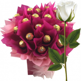 Ferrero Rocher Bouquet Magenta + White Rose