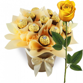 Ferrero Rocher Bouquet Pot With Yellow Rose