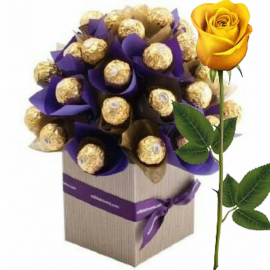 Ferrero Rocher Bouquet Purple + Yellow Rose