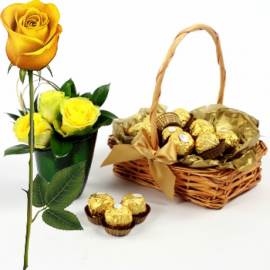 Ferrero Rocher Gift Basket + Yellow Rose