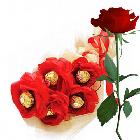 Ferrero Rocher Red Bouquet with Red Rose