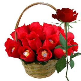 Valentine Rose Basket