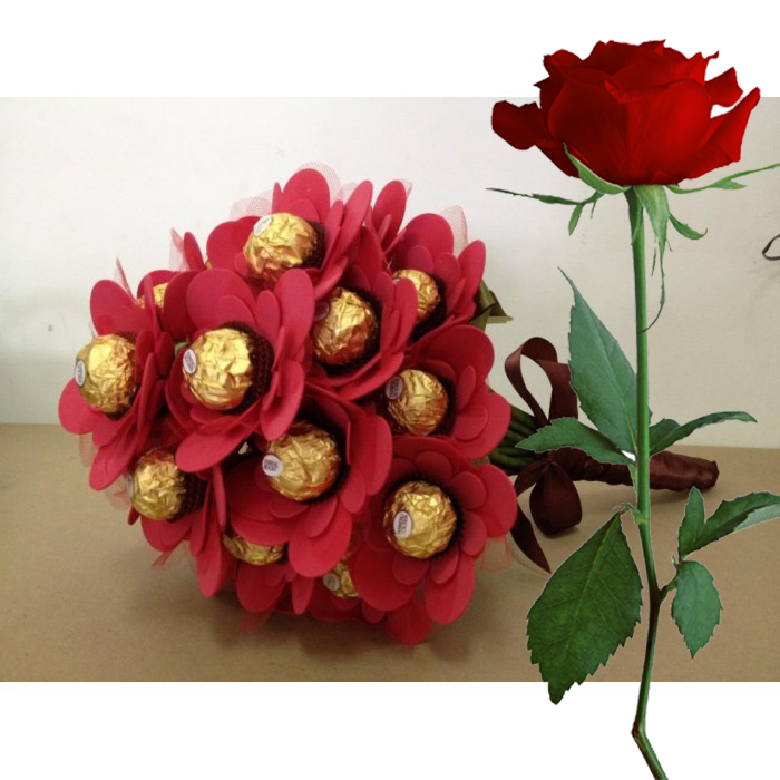 Chocolate Bouquet + Red Rose