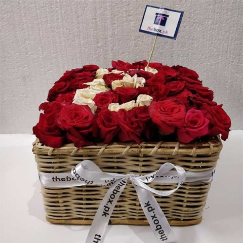 Red flower luxury basket