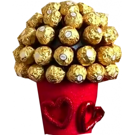 Ferrero Rocher Chocolate Bouquet Red Pot (large)