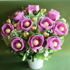 Ferrero Rocher Chocolate Bouquet Purple Plant