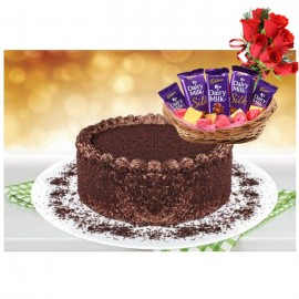 Chocolate Bliss Cake By Bread & Beyond With Dairy Milk Chocolate Basket With 8 Roses Bouquet