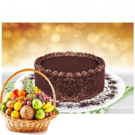 Chocolate Bliss Cake By (bread N Beyond) And Fruit Basket
