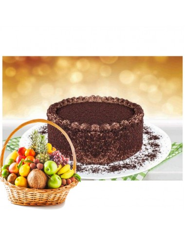 Chocolate Bliss Cake and Fruit Basket