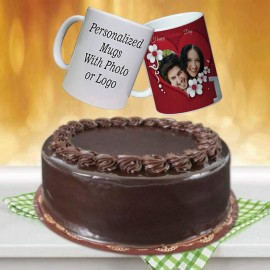 Chocolate Fudge Cake With Customized Mug