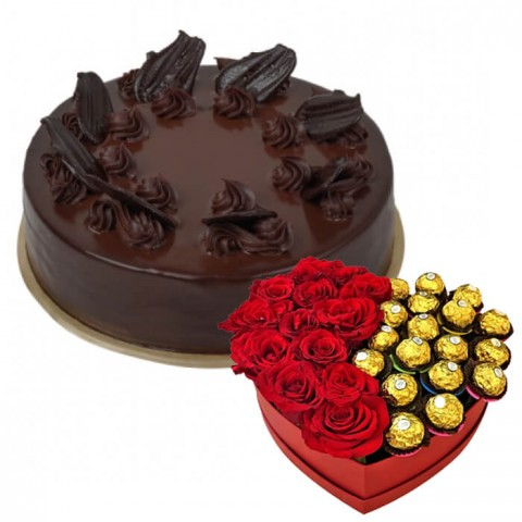 Death By Chocolate Cake  with Roses And Chocolates