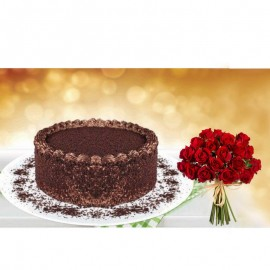Chocolate Bliss Cake With Dozen Roses