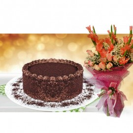 Chocolate Bliss Cake With Flower Bouquet