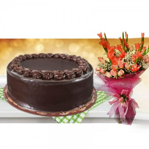 Death by chocolate cake with bouquet