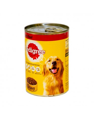 Pedigree Dog Food Tin Beef With Gravy 400g