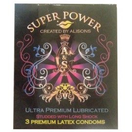 Super Power Ultra Premium Lubricated Studded Condoms 3 Pcs
